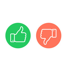 Thumbs up thumbs down emblems like dislike icons vector