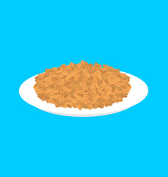 Wheat cereal in plate isolated healthy food for vector