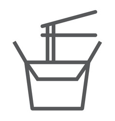 Wok box line icon chinese and food noodle sign vector