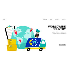worldwide delivery landing page vector image