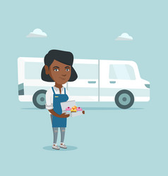 Young african-american baker delivering cakes vector