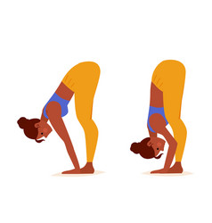 young woman practicing yoga standing half forward vector image