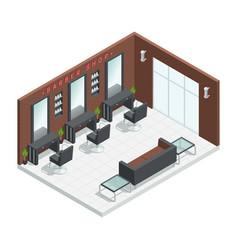barbershop salon isometric interior vector image vector image