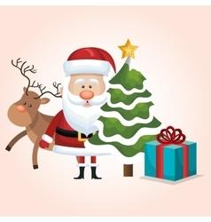christmas santa claus reindeer tree and gift vector image