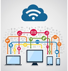 Cloud computing network vector image vector image