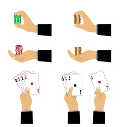 Hand with playing cards and chips vector image vector image