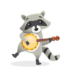 Musical animals Racoon Banjo vector image