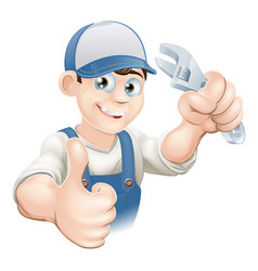 thumbs up plumber with spanner vector image