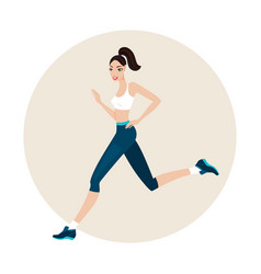 young beautiful slim woman running wearing sport vector image