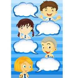 Boys and girls with speech bubbles vector image vector image