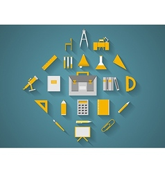 Flat icons for school supplies vector image vector image