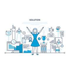 solution success in work achieving goals vector image vector image