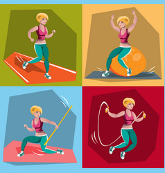 young girl in fitness sportswear vector image vector image