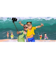 cartoon selfie tourists do on the background vector image vector image