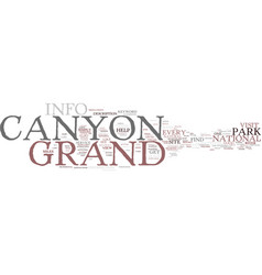 Grand canyon info text background word cloud vector