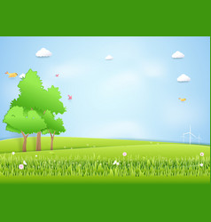 landscape mound and trees background paper art vector image vector image