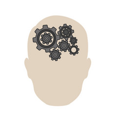 person gear brain icon vector image