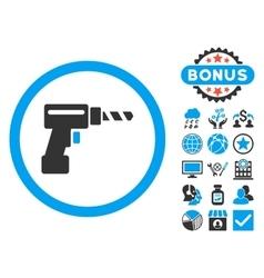 Drill Flat Icon with Bonus vector image