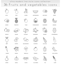 Fruits and vegetables ultra modern outline vector