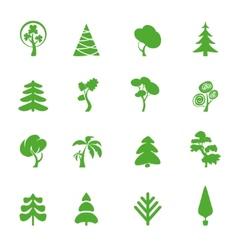 Green leaf icons set Nature ecology image vector image