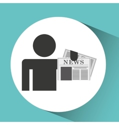 silhouette man newspaper icon vector image