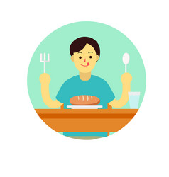 young man prepare to eat bread with spoon and vector image vector image
