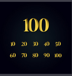 100 years anniversary gold number template design vector