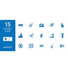 15 airport icons vector