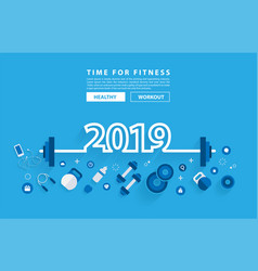 2019 new year fitness concept workout typography vector image