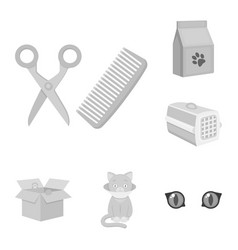 An animal cat monochrome icons in set collection vector