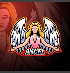 Angel esport logo mascot design vector