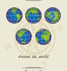 around the world light coloured background vector image