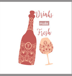 Auburn red color bottle and glass vector