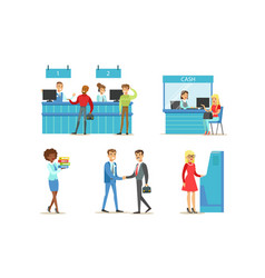 bank managers and clients set banking service vector image