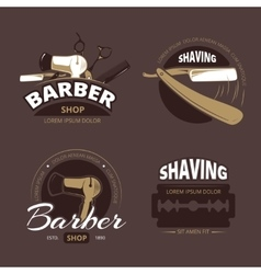 Barber shop and shave vintage logo labels vector