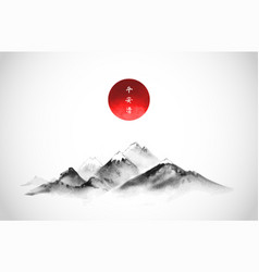 big mountains with snow top and red sun vector image