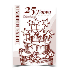 Birthday cake decorated with stars poster vector