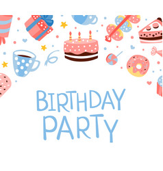 birthday party banner template with cute sweets vector image
