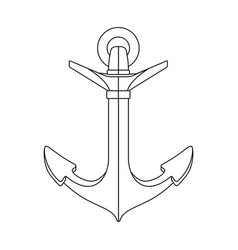 black white outline sea icon anchor vector image
