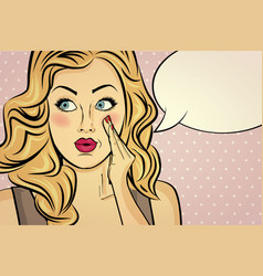 Blonde retro lady with bubble message vector