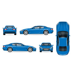 Blue sports car realistic vector