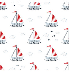 boat cute seamless pattern on white background vector image
