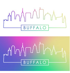 buffalo skyline colorful linear style editable vector image