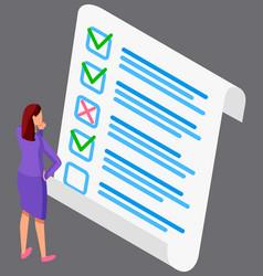 Businesswoman standing near big checklist vector