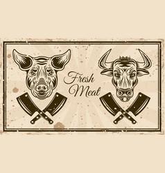 Butchery shop horizontal poster in vintage vector