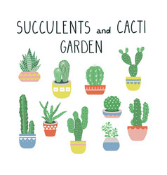 cacti and succulents set cactus vector image