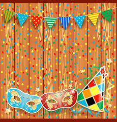 Carnival background with festoon masks and hat vector