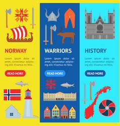 Cartoon norwegian travel and tourism banner vector