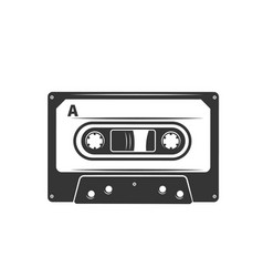 cassette tape monochrome icon vector image