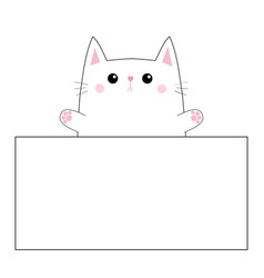 cat face head silhouette hanging on paper board vector image